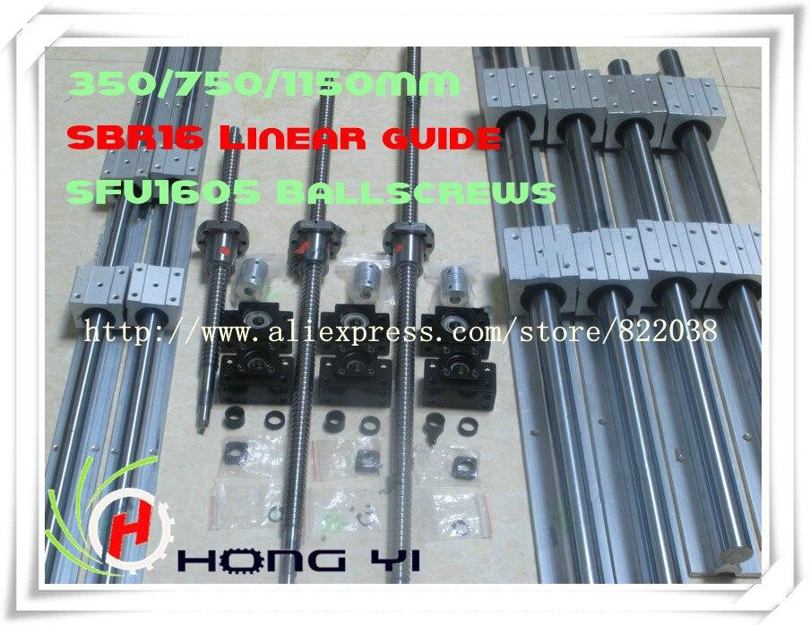 2pcs linear guide SBR16 L = 300/700/1100MM +3pcs BALL SCREW RM1605 - 350/750/1150MM + 3pcs BK/BF12 + 3pcs Couplers 6.35 * 10 sesibibi 3pcs цвет случайный