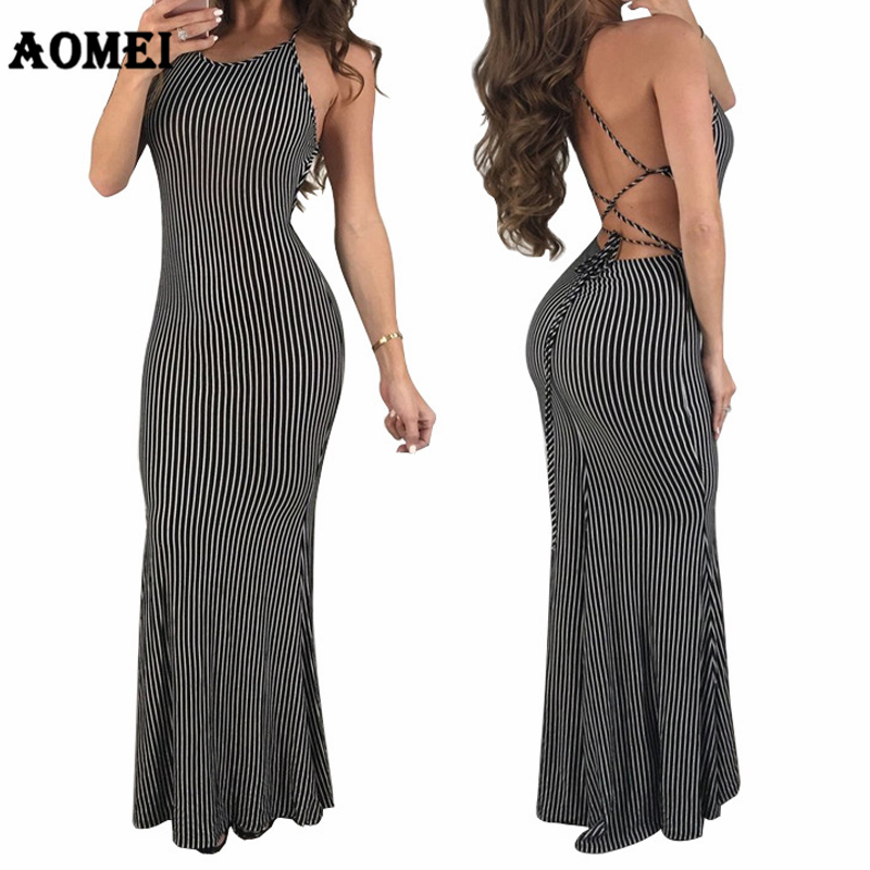 Летнее Новое сексуальное платье в полоску макси с открытыми плечами спинки vestidos платья для женщин для Вечеринка Клубная одежда отпуск