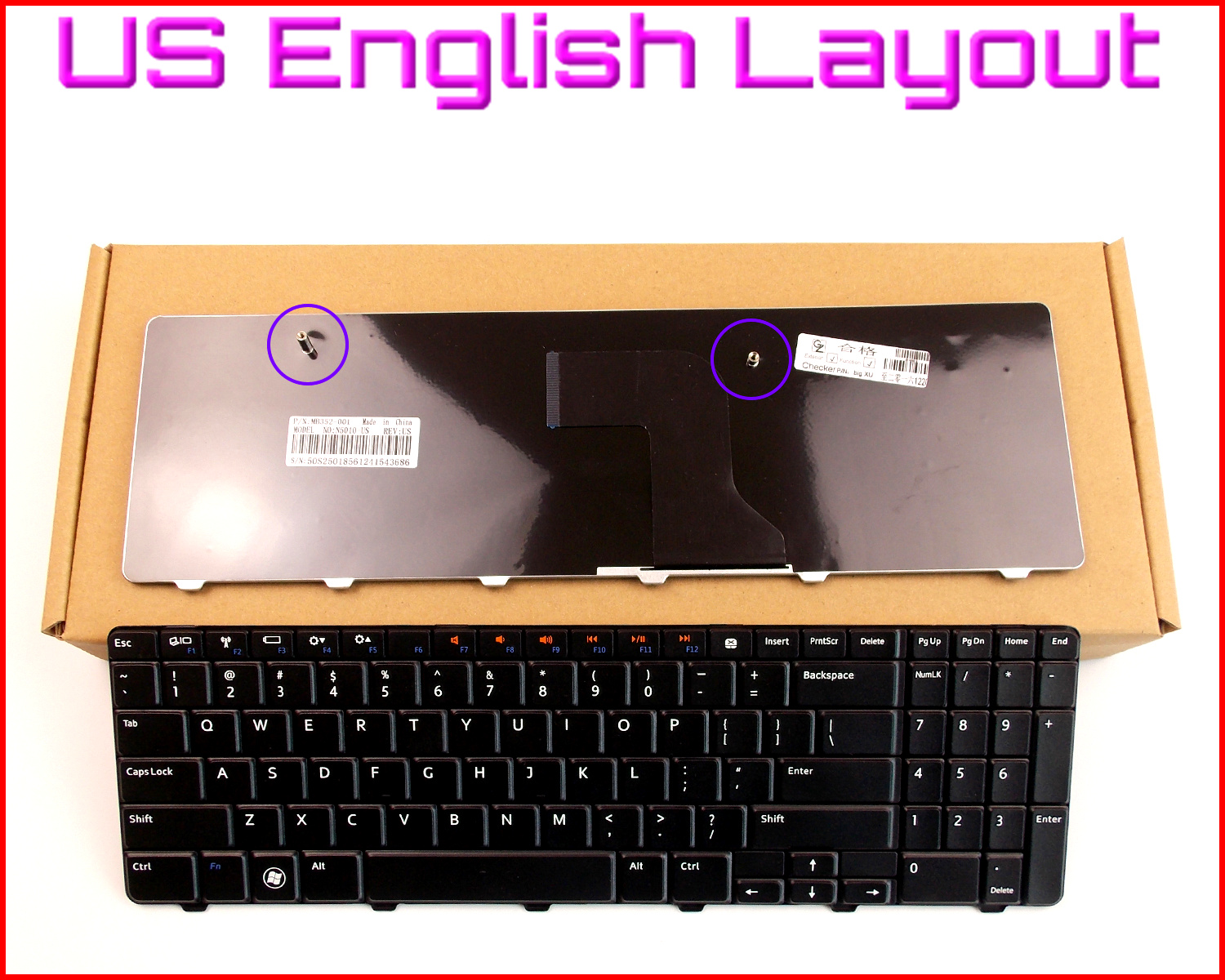 New Keyboard US English Version for <font><b>Dell</b></font> <font><b>Inspiron</b></font> 15 15R <font><b>5010</b></font> N5010 M5010 NSK-DRASW Laptop image