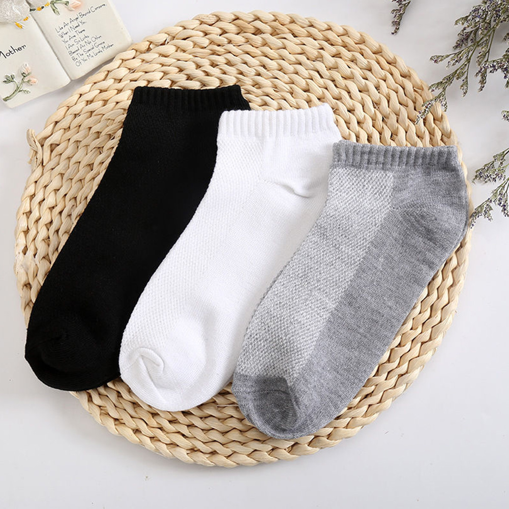 Ankle-Socks Crew Summer Breathable Men Cotton Casual Low-Cut Soft White/gray 137 1-Pair/5-Pair