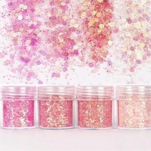 Image 3 - Set of 4 10ml Chunky Pink series Nail Glitter Powder Sequins Powder For Nail Art Decoration Gradient Set ultra fine Nail Glitter