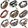 Retro Genuine Leather Multilayer Beaded Charm Bracelets For Women Men Adjustable Braided Wristband Cuff Male Female Jewelry