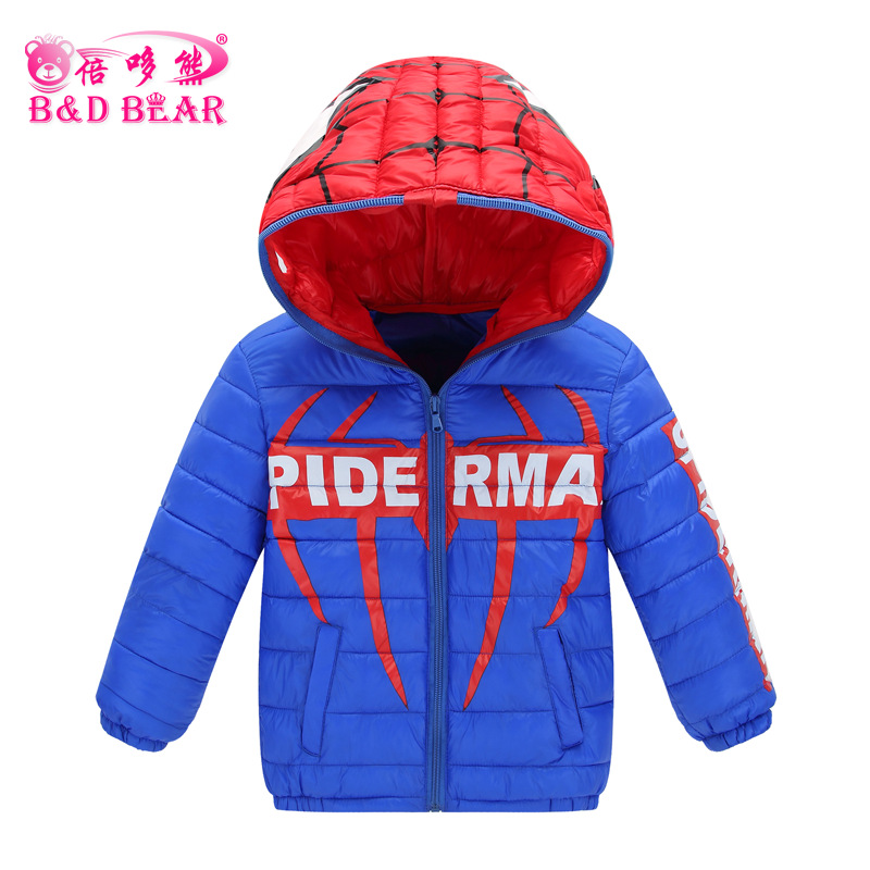 Children Winter Parkas 2017 New Design Spiderman  Kids Boys Girls Outwear Coats Toddler Cotton Down Cartoon Jackets Clothing 2017 new winter sytle children clothing fashion cartoon print girls down & parkas 1 6y hooded children jackets coats for girls