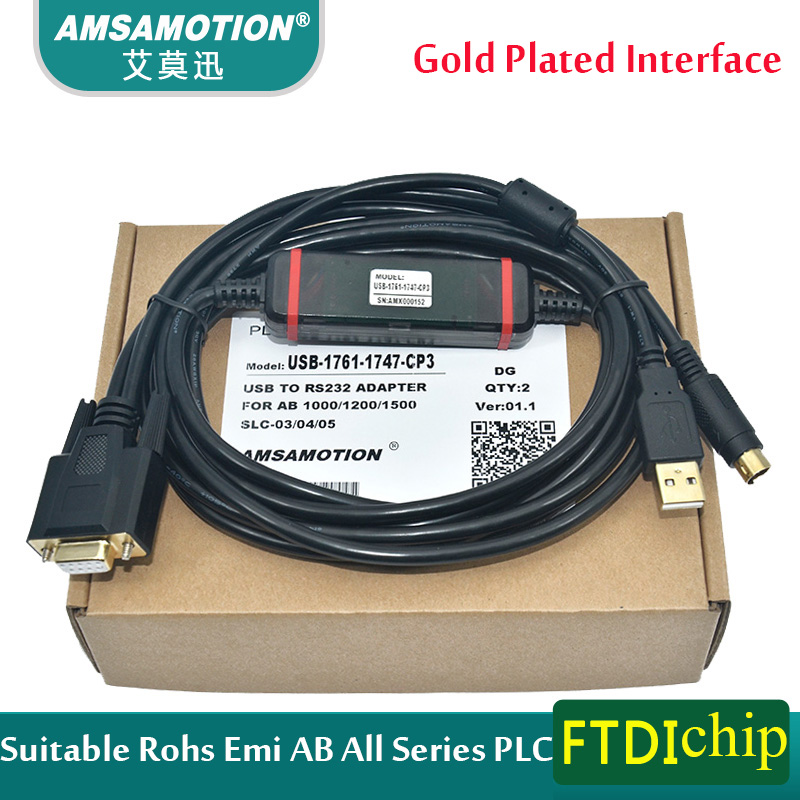 Suitable Rockwell AB PLC Programming Cable USB-1761-1747-CP3 Download Cable AB All Series sst pfb slc plc programming cable replacement usb 1747 cp3 usb programming cable for a b plc