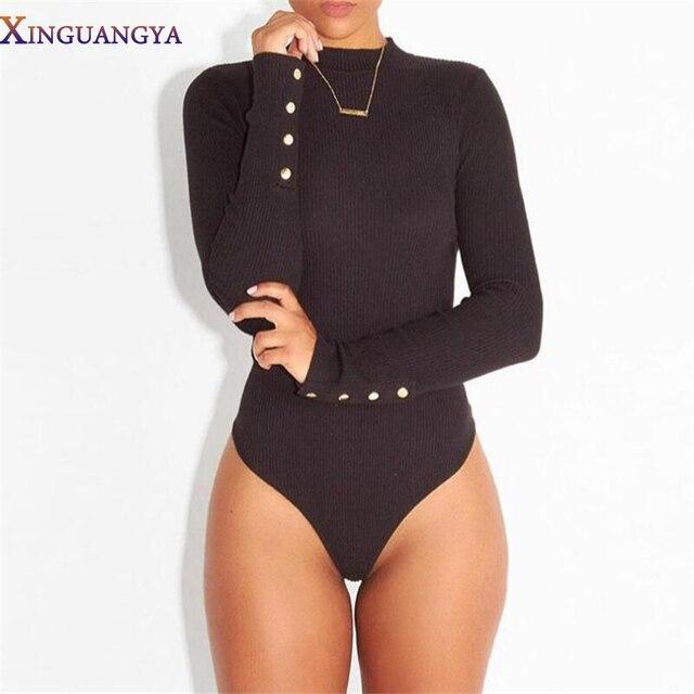 Комбинезон Женщины 2017 Sexy Women Боди Водолазка С Длинным Рукавом Черный Комбинезон Bodycon Комбинезон Короткие Femme Combinaison Комбинезоны Быть