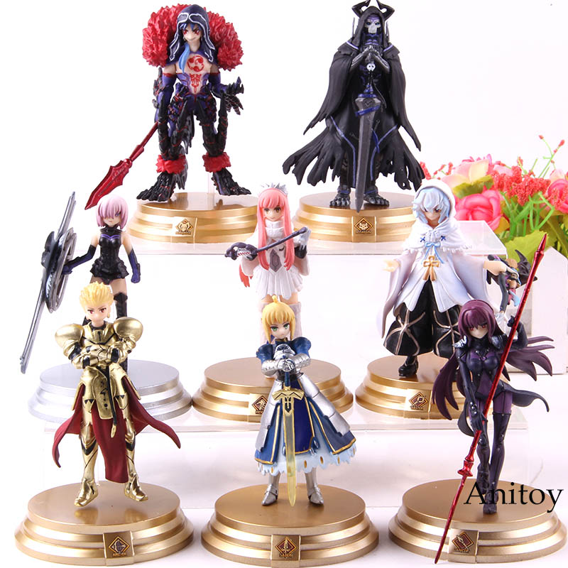 8pcs/set Fate Grand Order Figure Action Duel FGO Collection Figure Saber Scathach Mash Gilgamesh Merlin Medb Model Toys