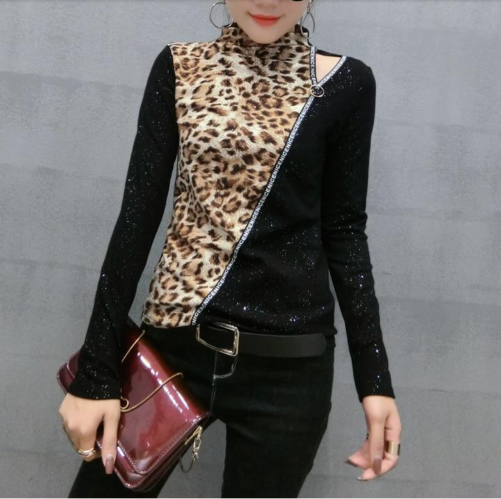 New Velvet Leopard Splice T Shirts Women 2019 Autumn and Winter Sexy Turtleneck Long Sleeve Tops Women Slim Tshirt