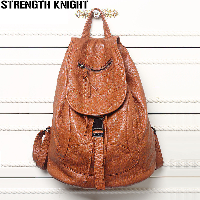 New Designer Washed Leather Bag High-grade Leather Women Backpacks Bolsos Mujer School Backpack for Girls Travel Bag Rucksack go meetting brand fashion women backpacks soft washed leather bag schoolbags for girls leisure bag mochilas travel backpack