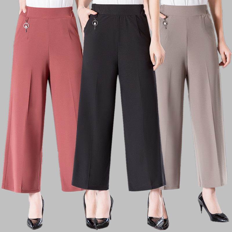 2019 Summer Fashion Thin Women   Wide     leg     pants   Plus size Middle-aged lady High waist Elastic Nine   pants   Black Female Trousers 5XL