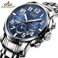 AESOP Fashion Blue Watch Men Brand Automatic Mechanical Shockproof Waterproof Wristwatch Male Clock Relogio Masculino Hodinky