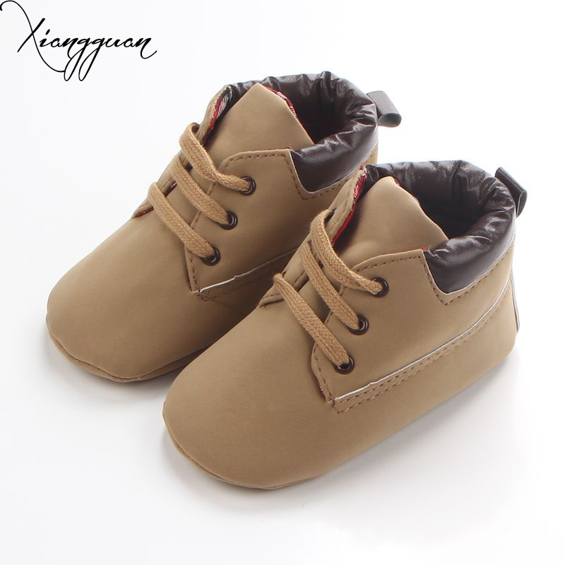 New Spring Antumn 6 Colors High Quality Lace Up Solid PU Soft Sole Casual Design Baby