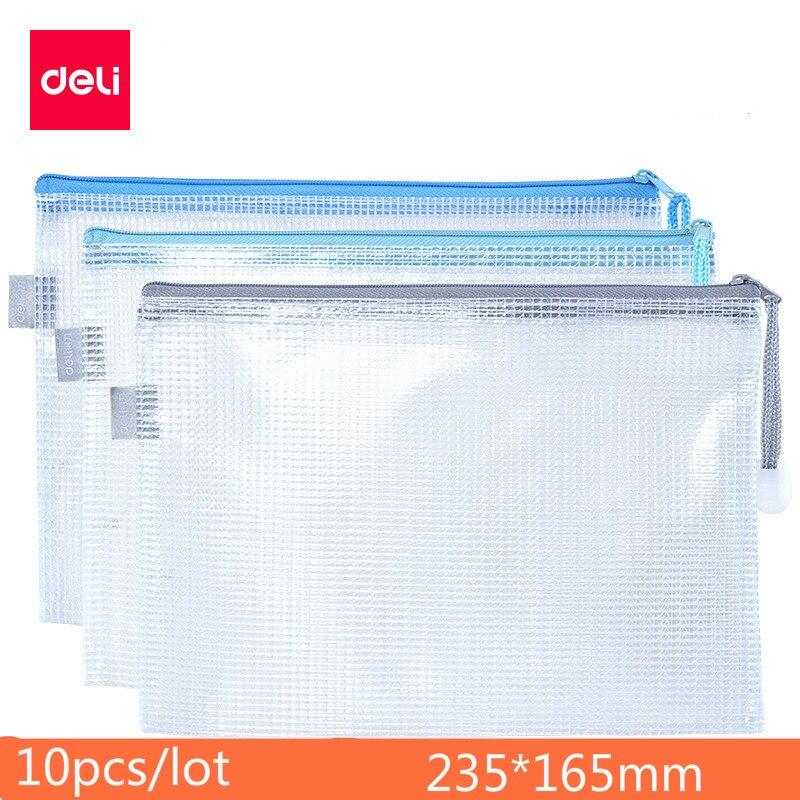 DELI Transparent Document Bag A5 Zipper Bag Mesh Office Document Package Storage Handbag Student Stationary Fichario Folder