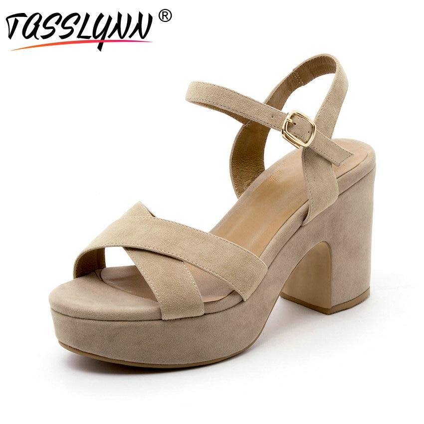 TASSLYNN 2019 Platform Women Sandals Kid Suede PU Wedding Summer Shoes Buckle Strap Square High Heels