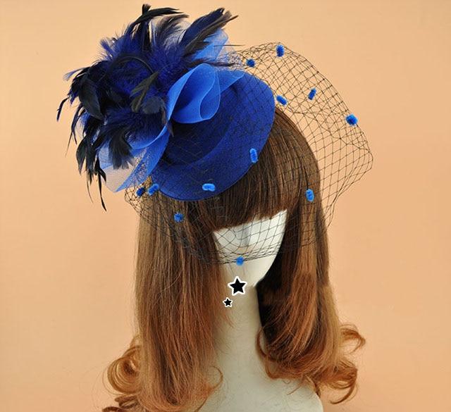 Bílá červená modrá Vintage show peří vlasy Fascinátor Clip Nevěsta Dot Závoj Hat Ženy Svatební Derby Party Závoj Birdcage Pokrývky hlavy