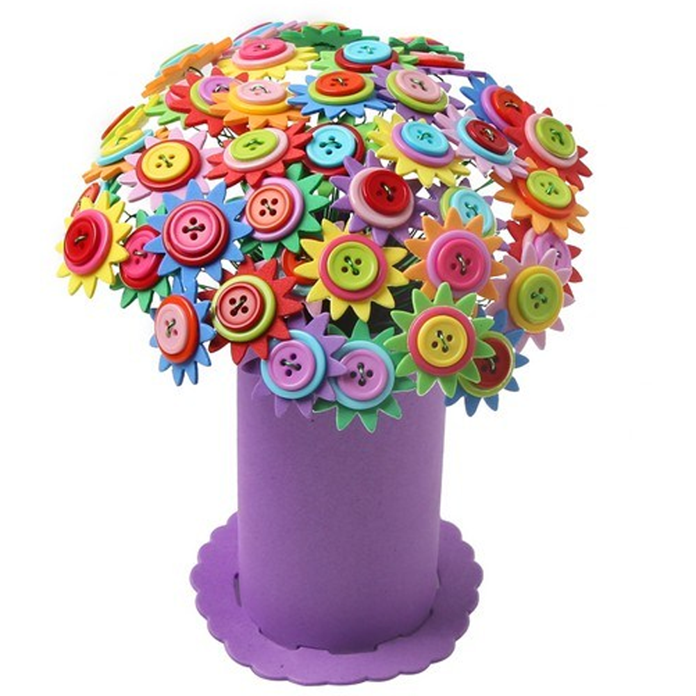 DIY Button Toy Bouquet Handmade 3D PuzzleToys Button ...