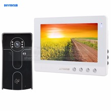 DIYSECUR 10 inch Wired Video Door Phone Doorbell Home Security Intercom System RFID Camera IR Night Vision
