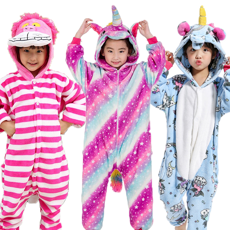Children's Animal Pajamas Winter Warm Girl Boy Kids Pajama Cartoon Unicorn  Stitch Panda Cosplay Onesie Hooded Cute  Sleepwear