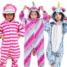 cf0bf9625de1 Pijamas de animales para niños invierno cálido niña niño niños pijama de  dibujos animados unicornio Stitch Panda Cosplay onesie .