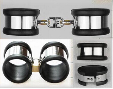 1 Pair silicone and Metal Sex Toys Stainless Steel Handcuffs and Feet cuffs Locked Him/Her to Feel Bounded Fun Sexy Products feel and find fun building site