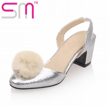 Fashion Fur Ball Women's Sandals Party Wedding Shoes Sandalias de Mujer Size 33-43 Elegant Thick Med Heels Summer Shoes Woman