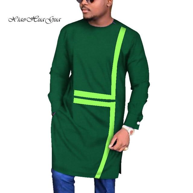 Yeni Tasarımlar Casual Düğün Erkek Uzun Gömlek Gömlek Uzun Kollu Dashiki Afrika Baskı afrika kıyafeti O boyun Balmumu WYN683
