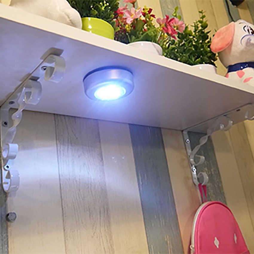 Светодиодный нажимной светильник пуш-ап лампа ночник автомобиль дома стены Кемпинг Батарея Мощность свет лампы туалет шкаф датчик для освещения шкафа для детей