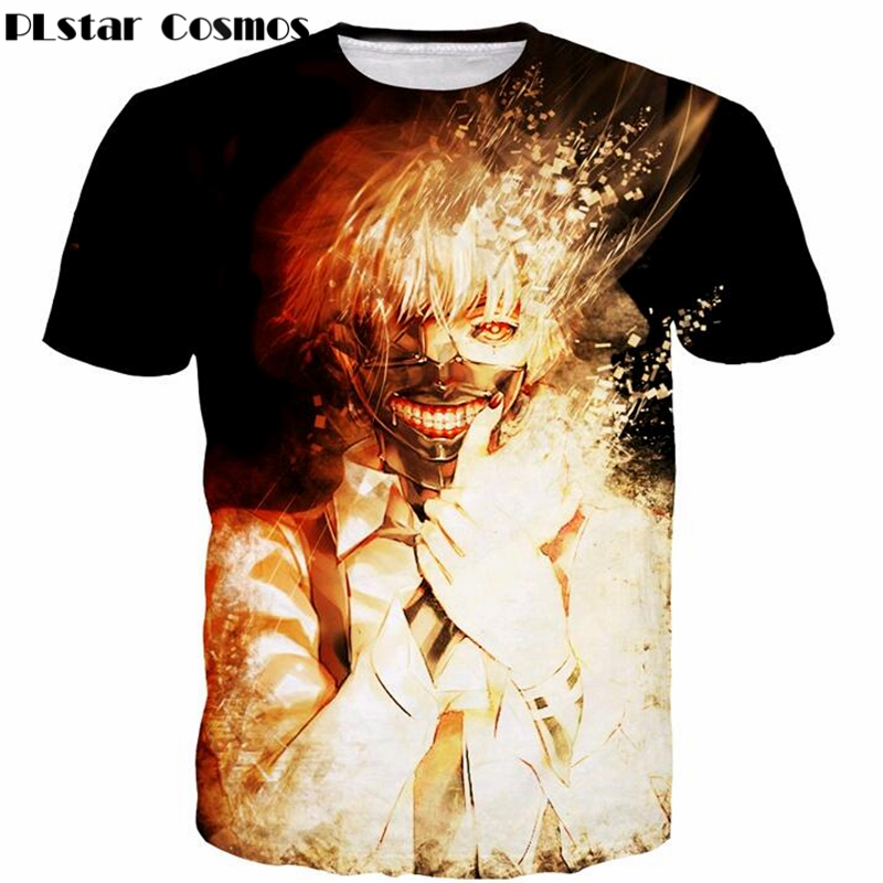 PLstar Cosmos 2017 summer New Harajuku Style Tee shirts Anime Tokyo Ghoul 3D print Men Women t shirts Gold Kaneki Ken tees tops