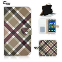 PU Leather Wallet Phone Cases for Huawei P8 lite Case Flip Cover Stand Magnetic Skin Tartan / Check Pattern Case