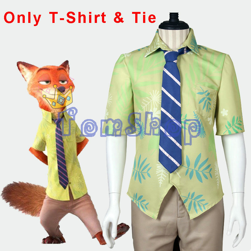 Zootopia Fox Nick Wilde Cosplay Print Short Sleeves Shirt And Tie Halloween Fancy Party Costumes Custom Size
