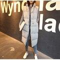 Novo inverno engrossar algodão quente para baixo do colete moda feminina único botão versão solta longo casaco sem mangas mulheres veste femme MJ1