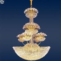Традиционный гостиная фары пентхаус этаже дома пол лестница кристалл лампы освещения лампы золото Люстры lmy 0164