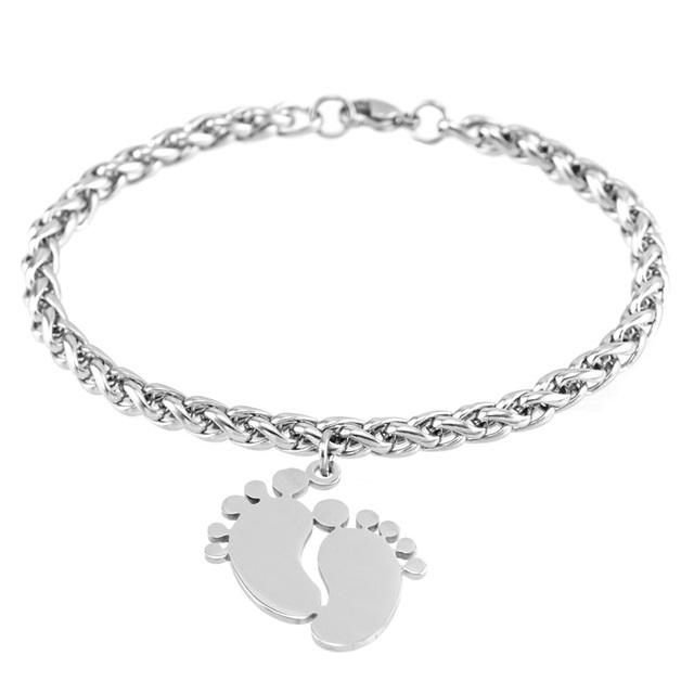 Foot Toe Bracelets 5mm Braid Chain Baby Foot Charm Bracelet Nice Child Gifts for Mom Cute Stainless Steel Jewelry 2018 New