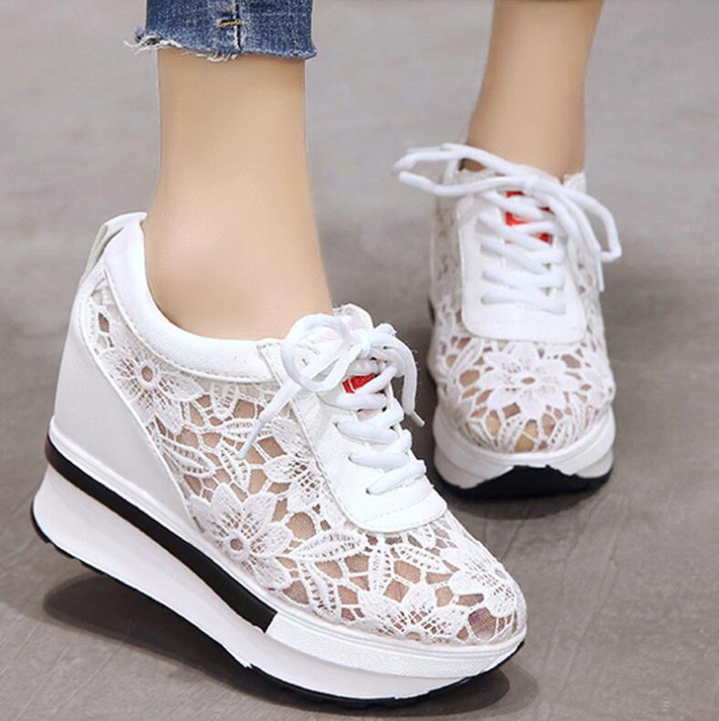 2019 Elegant Fashion Mesh Sneakers Women Lace-up Loafers Comfort Hide Heel Able Platform Flat Ladies Casual Shoes Zapatos Mujer