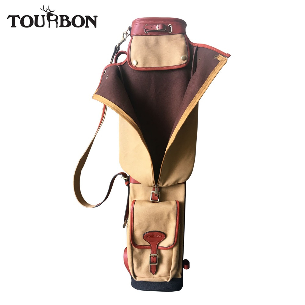 Tourbon Pencil Style Golf Club Carrier Canvas & Leather Vintage Golf Gun Bag with Pockets Side Clubs Interlayer Cover 87CM polo authentic high quality golf gun bags pu waterproof laoke lun men travelling cover 8 9 clubs 123cm golf bolsa de sport bag