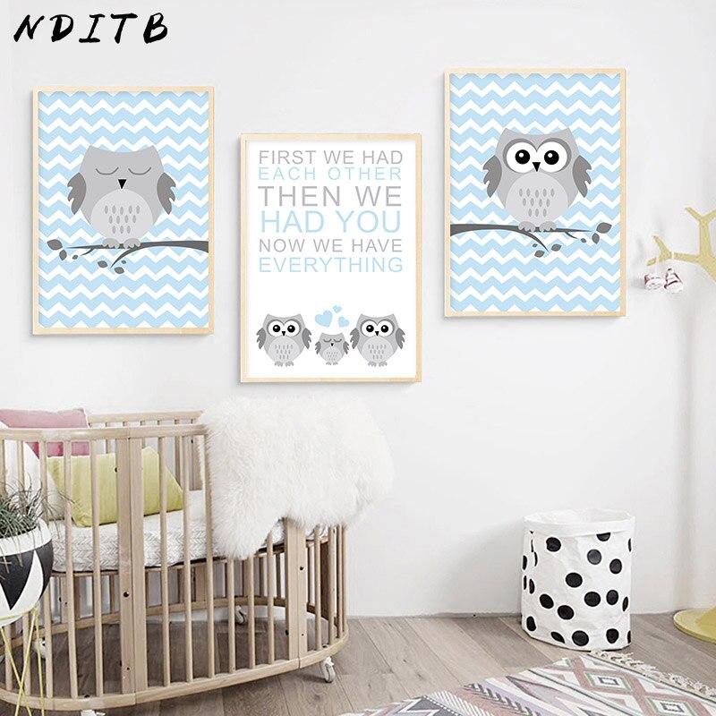 3 Moon Mountain Star Owl Modern Scandi Nursery Wall Art Prints Kids Room Picture