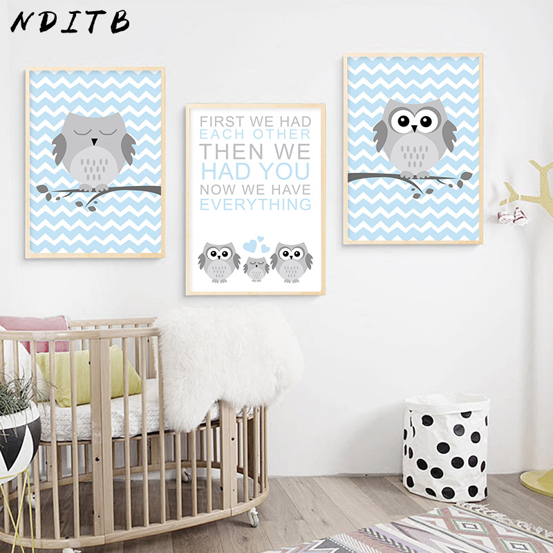 Us 2 7 53 Off Nditb Woodland Animal Navy Blue Owl Canvas Poster Cartoon Nursery Wall Art Print Minimalist Painting Nordic Kids Bedroom Decor In