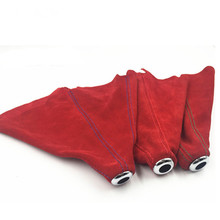 ФОТО gear shift collars universal jdm gear shift shifter boot cover frosted red suede for manual/auto shifter stitch red/ blue