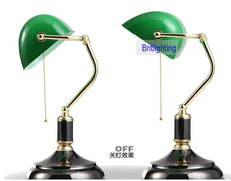 green glass lampshade Classical Bank Lamp 1 Light black Desk Lamp ...