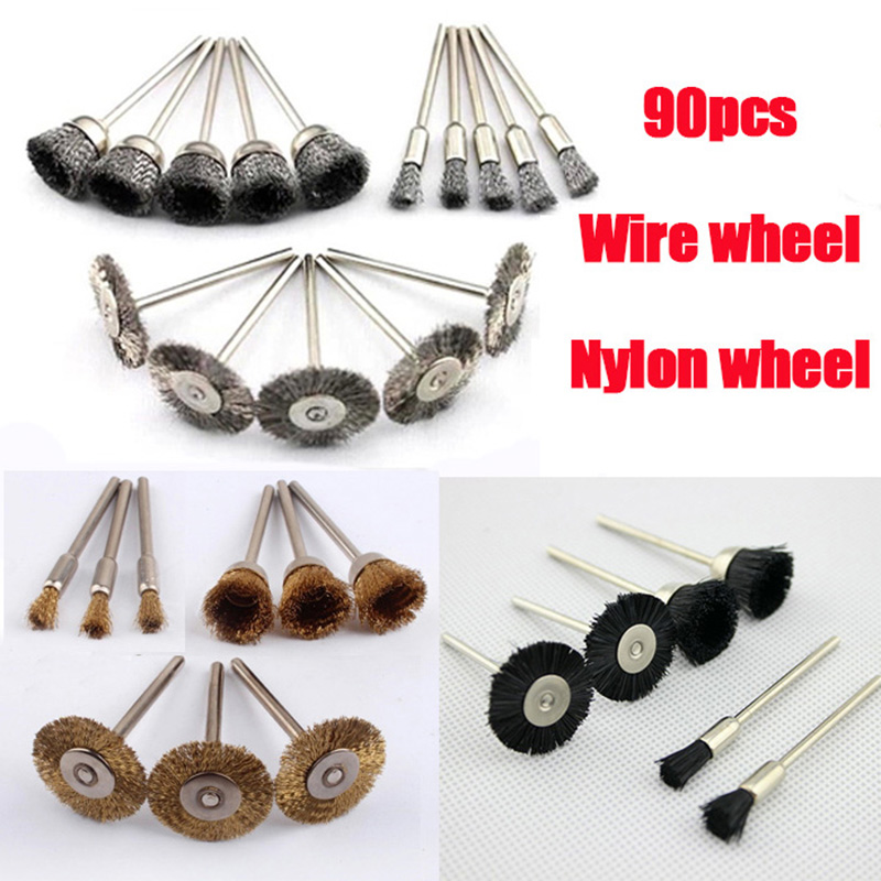 90ps Steel Wire Wheel Brush dremel rotary tool accessories power tools deburring for mini drill grinding polishing metal burr