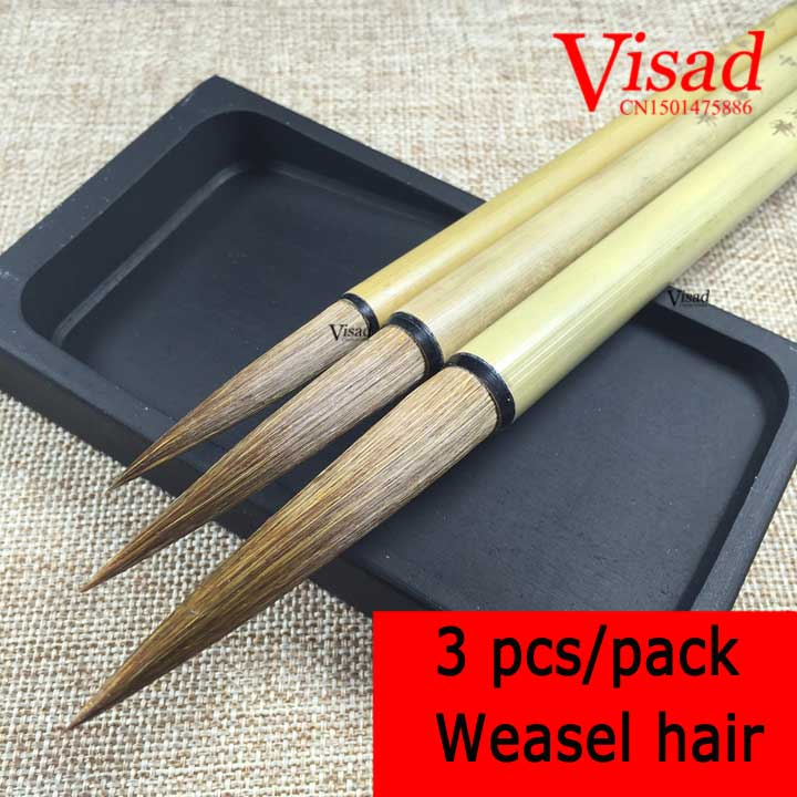 VISAD Chinois calligraphie brosse belette cheveux waterbrushes stylo ensemble 3 pcs/pack