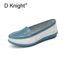 New Breathable Cut-outs Flats For Women Fashion Flower Genuine Leather Ladies Casual Flat Summer Loafers