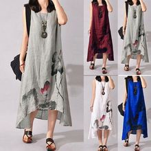 Women Boho Sleeveless Loose Cotton Linen Summer Sundress A-line Dress Tank