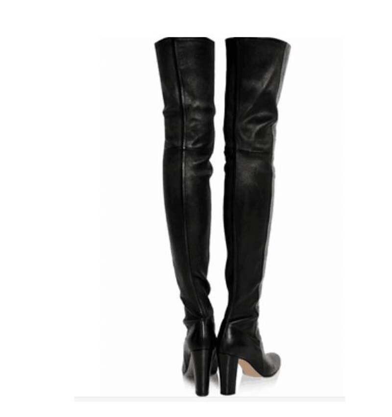 Muslo pink Alta Feminino Botas Black Invierno La Chunky 2018 Suede black Leather Talones Sapato Rodilla Zapatos Calidad Suede Sobre Zipper Otoño Mujer zzUqOZ