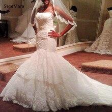 SexeMara White Strapless Mermaid Wedding Wedding Dresses