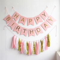 Pastel Pink Happy Birthday Banner Garland Hanging Gold Letters Bunting With Tassel Garland Decoration Party Event