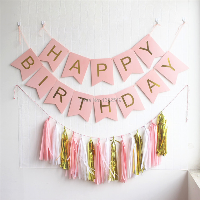 pastel pink happy birthday banner garland hanging gold letters