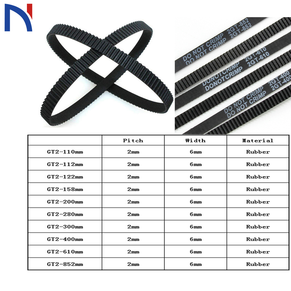 3D Printer Timing Belt Closed Loop 6mm Width GT2 110 122 158 200 280  300 400 mm