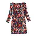 Женщины Платья Печати Цветочные Черный Плюс Размер 4XL Vestidos Summer Party Desigual Сексуальная О-Образным Вырезом Старинные Dress MF785932