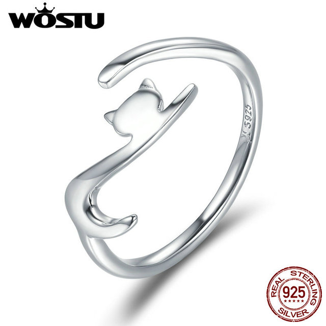 WOSTU 100% 925 Sterling Silver Sticky Cat with Long Tail Finger Ring For Women A