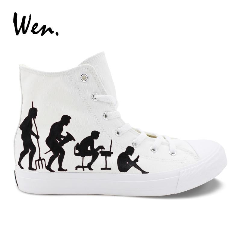 Pintado Diseño Cuerda Original Wen Mano Zapatillas La Suela A Personalizado Planos Humana Evolución De Hombre Lona Zapatos Mujer Blancos BqAnBxtXF